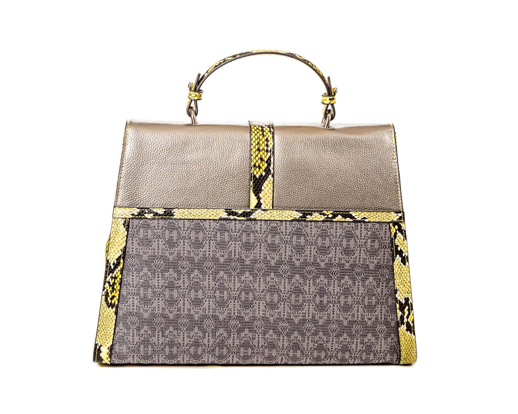 The Large Safia Satchel silver - FULANI