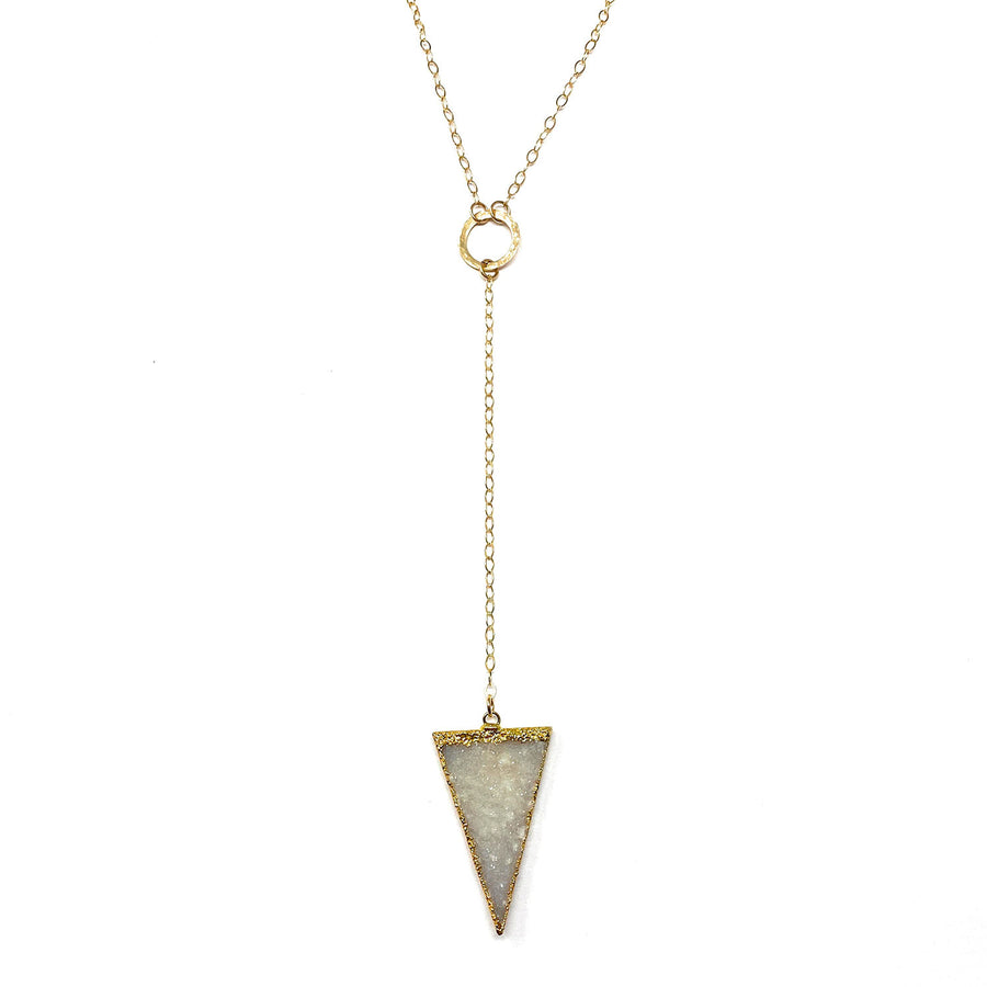 Gold + Druzy Quartz Lariat Necklace