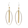 Oval + Hammered Bar Earrings
