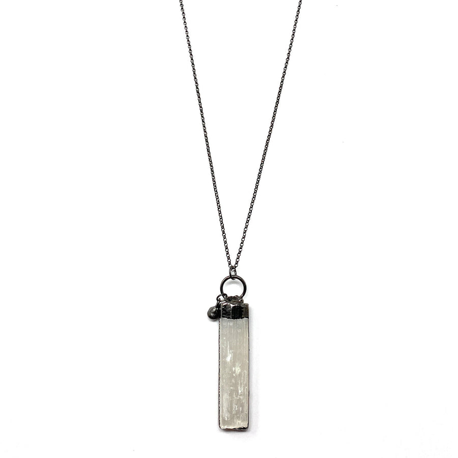 Selenite + Gunmetal Necklace