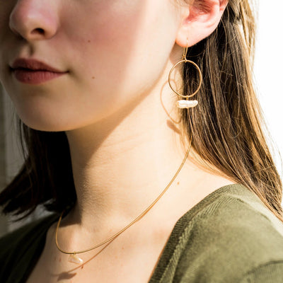 Guitar String Circle + Pearl Earrings