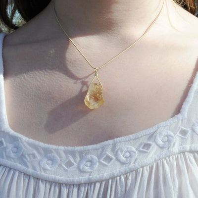Guitar String Gold Citrine Necklace