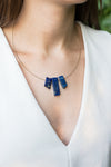 Guitar String Gold Lapis Lazuli Necklace