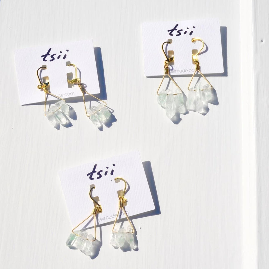 Guitar String Triange Green Quartz Earrings
