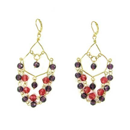 WORLD FINDS - Amira Chandelier Earrings Berry - The Nature of Beauty