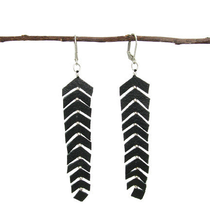 WORLD FINDS - Feather Fringed Earring Black - The Nature of Beauty