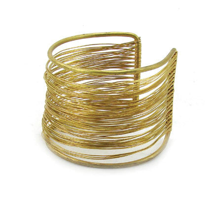 WORLD FINDS - Brass Wire Wrap Cuff Gold - The Nature of Beauty