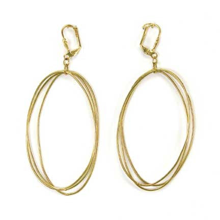 WORLD FINDS - Edie Triple Oval Earrings Gold - The Nature of Beauty