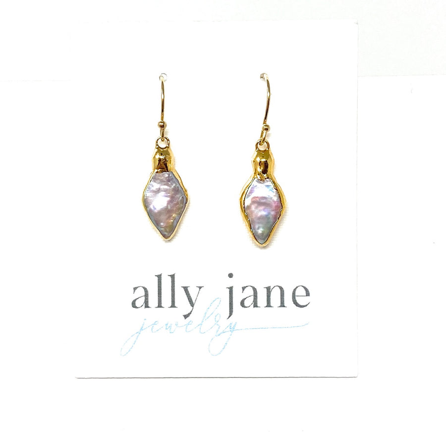 Mother of Pearl + Gold Earrings