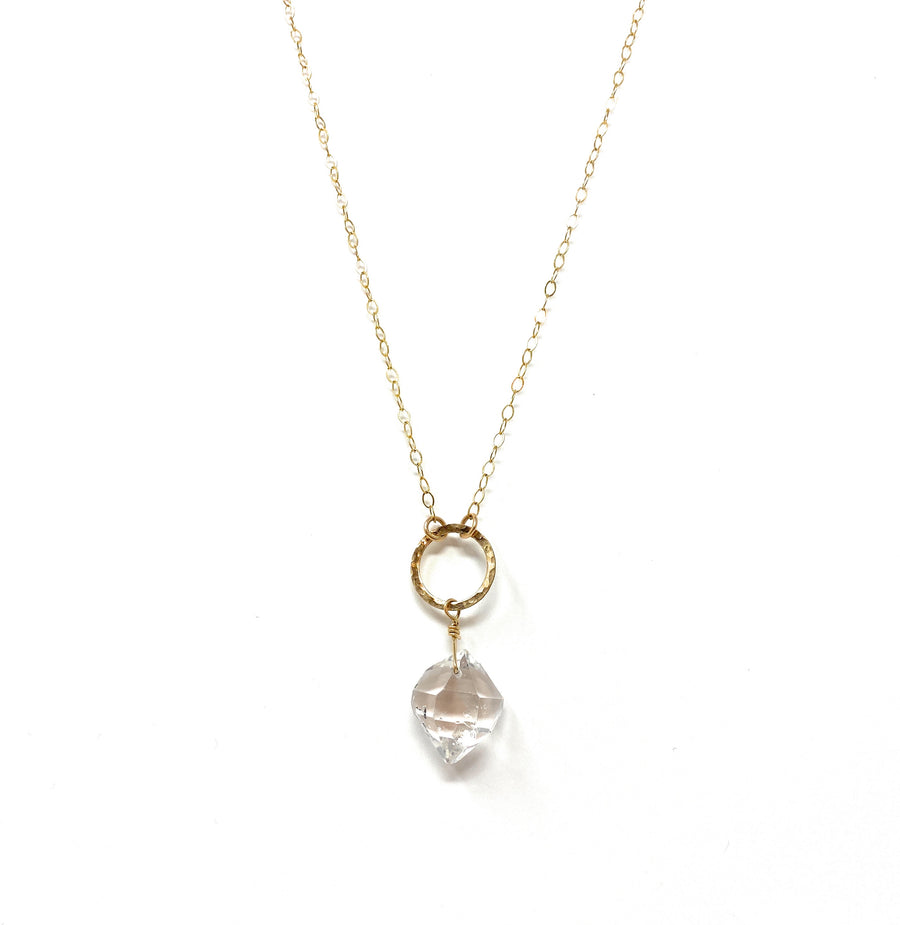 Herkimer Quartz + Gold Ring Necklace