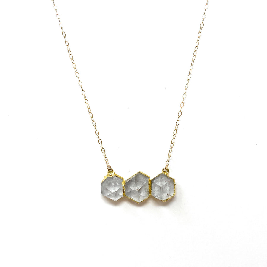 Quartz Crystal + Gold Triple Necklace