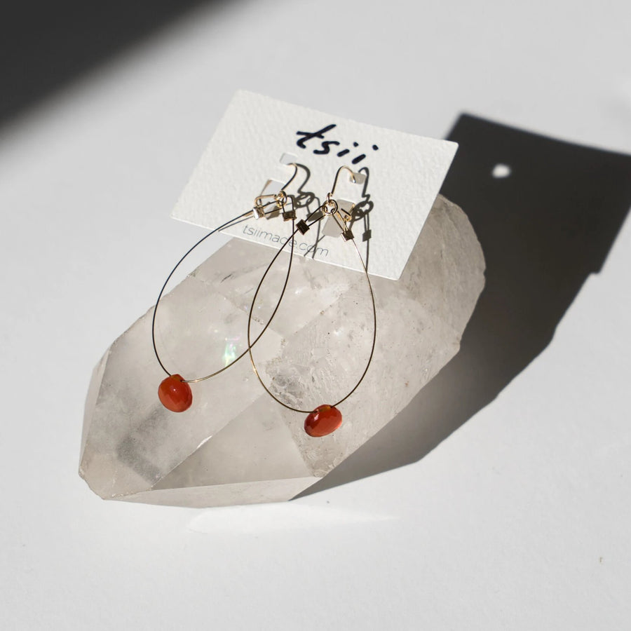 Guitar String Teardrop Diopside Earrings