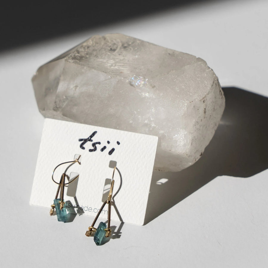 Guitar String Blue Tourmaline Earrings