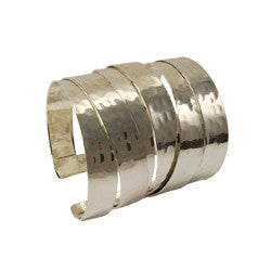 WORLD FINDS - Banded Brass Hammered Cuff Silver - The Nature of Beauty