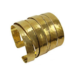 WORLD FINDS - Banded Brass Hammered Cuff Gold - The Nature of Beauty