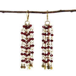 World Finds Tipped Tassel Earrings Burgundy