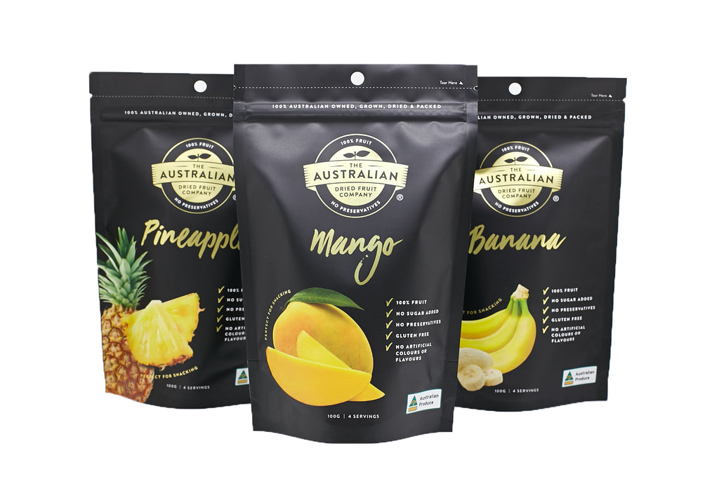 australian made dried banana, mango and pineapple. sugar and preservative free.  (4764286779441)