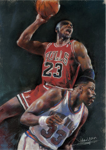 Michael Jordan and Patrick Ewing by Artist Haiyan