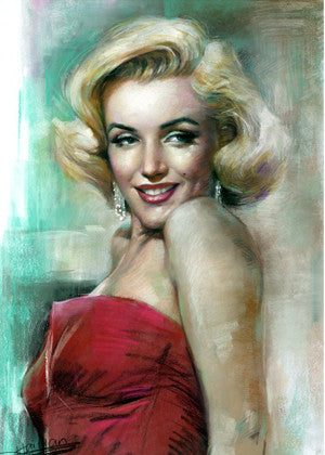 381-Marilyn Monroe Portrait stretch canvas 24x36 by Famous Artist Haiyan