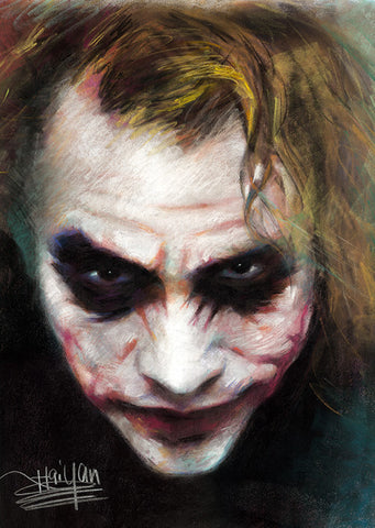 The Joker Heath Ledger Face Portrait by Haiyan
