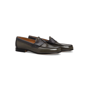 Dark Green Brushed Calfskin Loafer Shoes