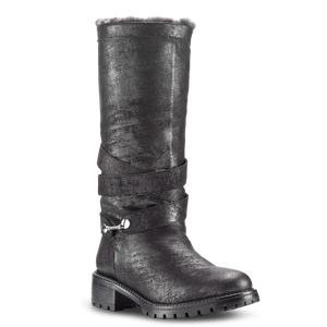 Alessandra Black Shearling Lined Moto Boot