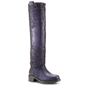 Elena Distressed Indigo Shearling Lined Tall Boot
