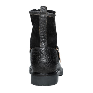 Federico Rugged Black Leather Weatherproof Moto Boot