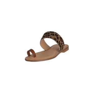 Shay Leopard Leather Strap Sandal