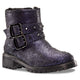 Stefana Distressed Indigo Leather Moto Bootie