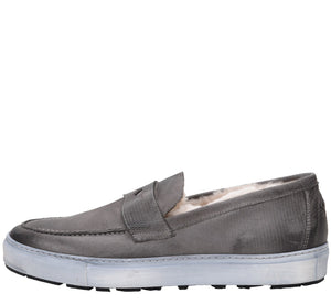 Matteo Weatherproof Leather Charcoal Loafer sneaker Ross & Snow
