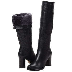 Michela Metallic Black Shearling Lined Tall Boot