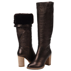 Michela Bronze Shearling Lined Tall Boot
