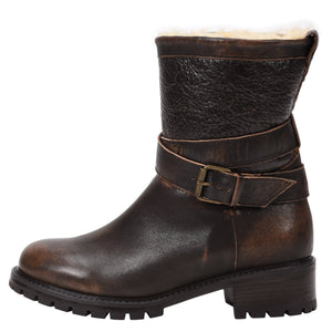 Emilina Weatherproof Leather Bomber Brown boot Ross & Snow 5