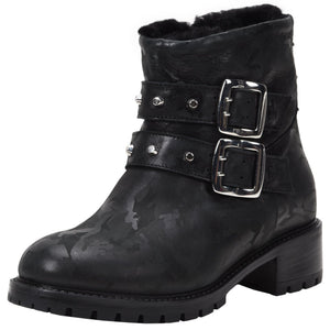 Stefana Weatherproof Leather Black Camo boot Ross & Snow