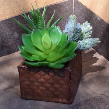 Stoneware Planter with Faux Succulent Arrangement