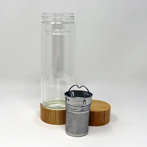 Bamboo Lid Glass Tea Travel Mug - 14 oz.