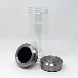 Glass Travel Mug with Stainless Steel Lid - 12oz