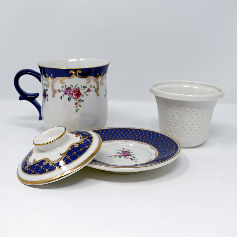Navy Rose Infuser Cup w/Saucer