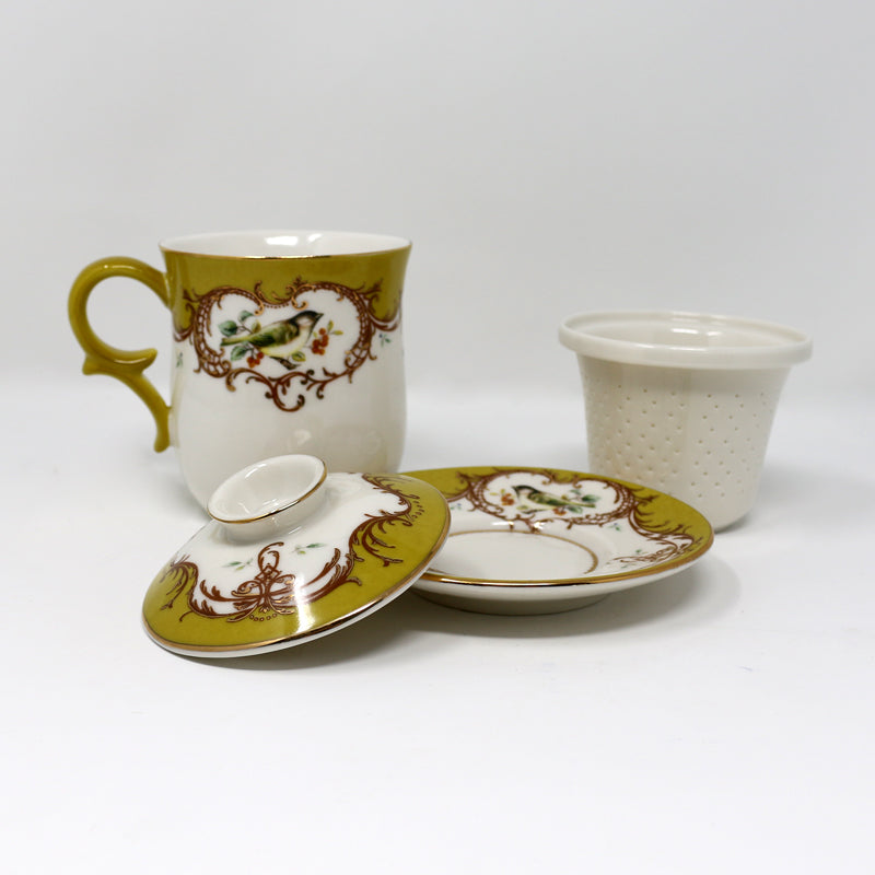 Yellow Bird Infuser Cup w/Saucer