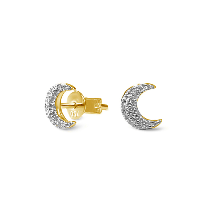 Half Moon Earrings in Yellow Gold with Diamonds