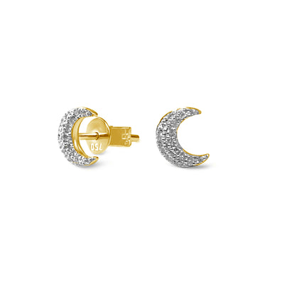Single Half Moon Earrings in Yellow Gold with Diamonds