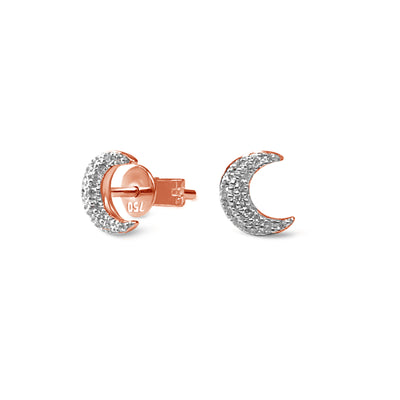 Single Half Moon Earrings in Rose Gold with Diamonds