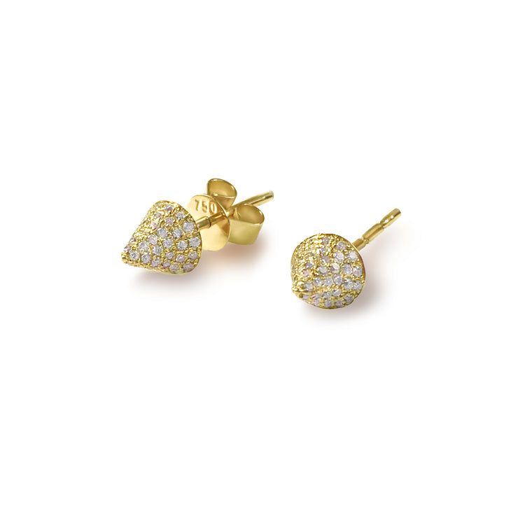 Single Cone Earrings in Yellow Gold with Diamonds
