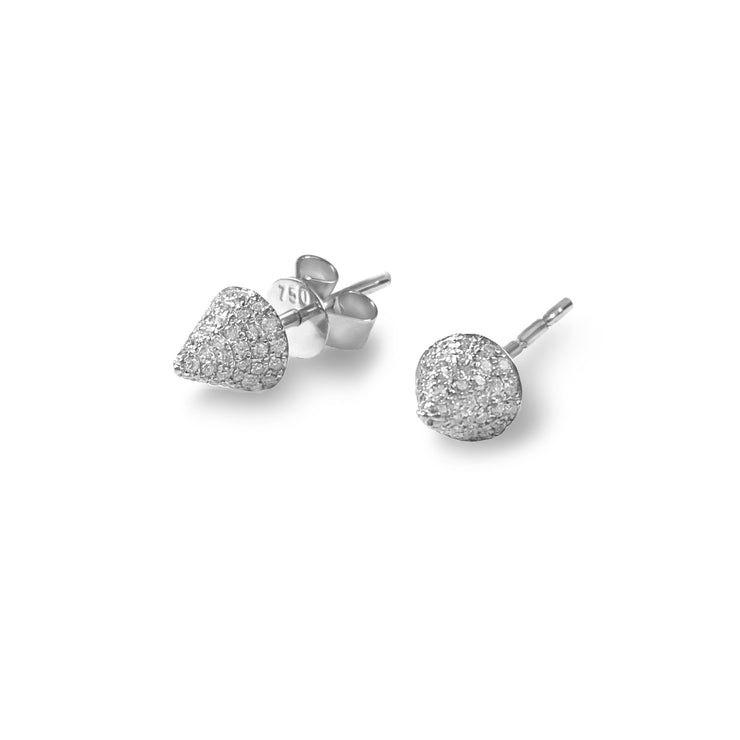 Single Cone Earrings in White Gold with Diamonds