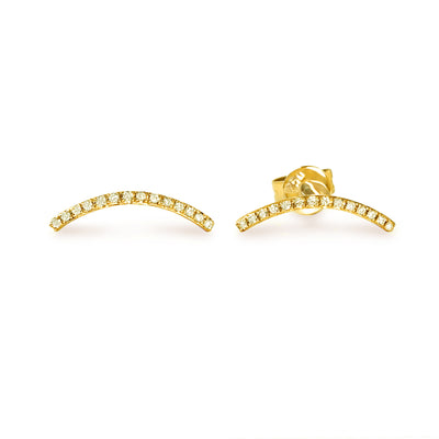 Curve Earrings in Yellow Gold with Diamonds