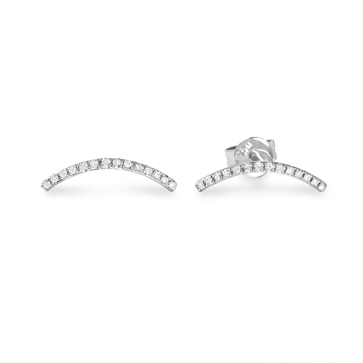 Curve Earrings in White Gold with Diamonds