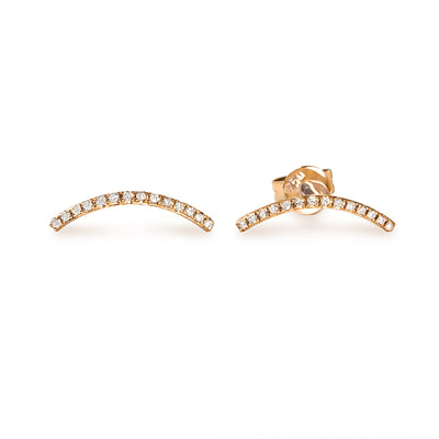 Curve Earrings in Rose Gold with Diamonds