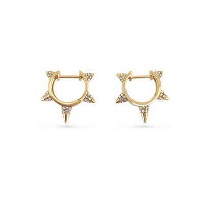 Bullet Studded Earrings in Yellow Gold with Diamond