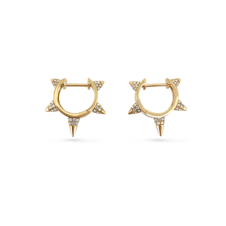 Bullet Studded Earrings in Yellow Gold with Diamonds